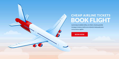 Air travel, plane tickets booking banner design template. Airplane flies in blue sky vector 3d isometric illustration. International traveling and tourism flight concept