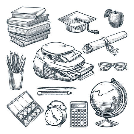 School supplies set. Hand drawn sketch vector illustration. Backpack, books, notebooks, graduation cap, diploma, globe doodle icons. Education design elements, isolated on white background