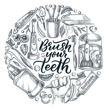 Brush your teeth calligraphy lettering poster, banner, or label design template. Vector sketch illustration of toothbrush in hand and toothpaste. Dental personal hygiene concept Stock Illustratie