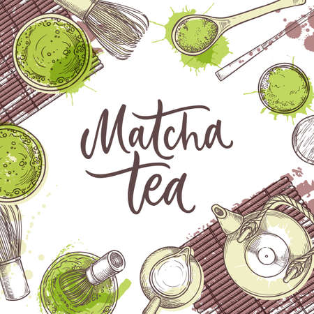 Matcha green tea banner. Poster or label with hand drawn calligraphy lettering. Traditional japanese tea ceremony, top view vector sketch illustration on watercolor splashes background