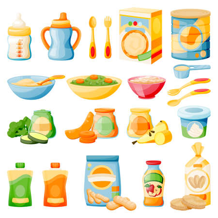 Baby healthy food in jars, bottles and boxes. Kids meal icons set, isolated on white background. Vector flat cartoon illustration of fruit and vegetable puree, porridge, milk and biscuits