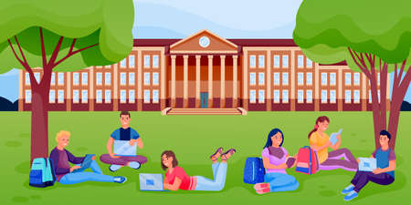 Students with books and laptops sitting on lawn of university college campus. Vector flat cartoon illustration. Pupils learning outdoor Stock Illustratie