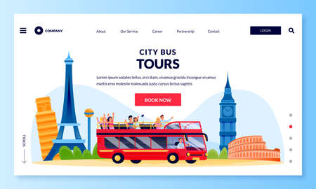 City bus tour in double decker, banner poster design template. Vector flat cartoon illustration of group of tourists on excursion in Europe. Travel and tourism concept Stock Illustratie
