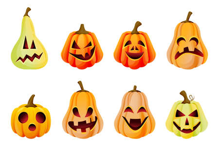 Halloween spooky emotion pumpkins icons collection. Vector flat cartoon illustration. Jack o lanterns face expression. Holidays celebration design elements, isolated on white background