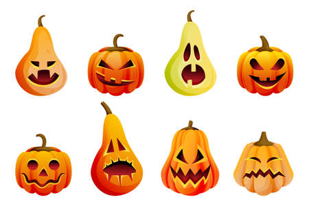 Halloween scary emotion pumpkins icons set. Vector flat cartoon illustration. Horror Jack o lanterns faces expression. October autumn holidays funny design elements, isolated on white background