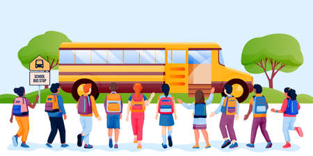 Back to school or first day at school concept. Kids schoolchildren with backpacks run to yellow bus. Vector flat cartoon back view illustration