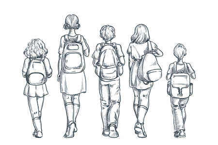 Back to school or first day at school concept. Kids schoolchildren with backpacks going to lessons. Vector hand drawn sketch back view illustration, isolated on white background