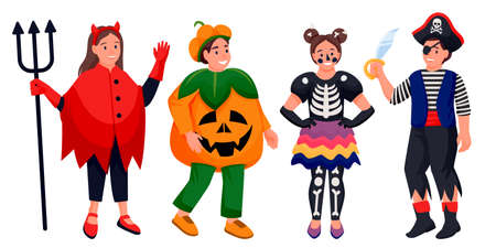 Kids in Halloween costumes of devil, pumpkin, skeleton and pirate. Vector flat cartoon boys and girls characters illustration. Cute kids celebrate holidays, isolated on white background Stock Illustratie