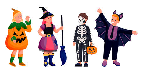 Kids in Halloween costumes of witch, bat, skeleton and pumpkin. Vector flat cartoon boys and girls characters illustration. Cute kids celebrate holidays, isolated on white background