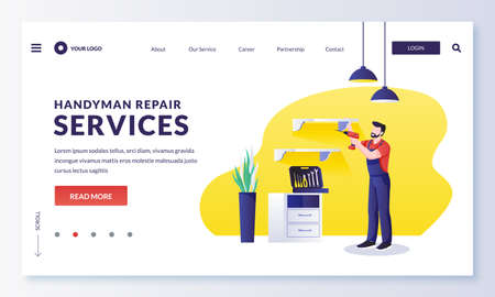 Home works and repair service. Handyman hangs new furniture shelf on wall in room. Vector flat cartoon character worker illustration. Home maintenance services concept Stock Illustratie