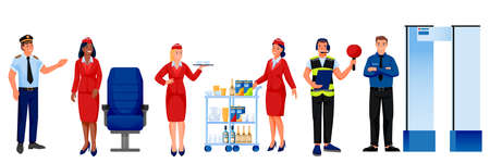 Airline and airport staff team, isolated on white background. Vector illustration. Men and women professional aviation workers. Pilot, stewardess, security officer, flight dispatcher characters set