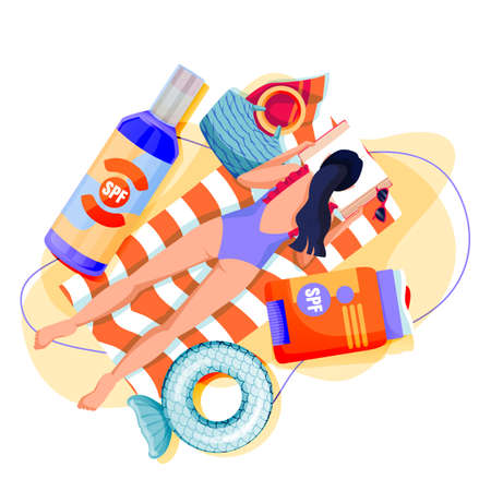 Summer face and body solar protection care concept. Girl sunbathing with sunscreen. Young woman lying on sand beach and reading book. Vector flat cartoon illustration of sunblock cosmetics packaging
