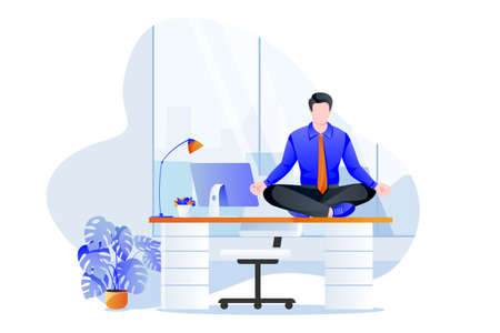 Businessman manager sitting in lotus pose on office desk. Office yoga 5-minute break. Man meditating in modern cabinet. Vector character illustration. Healthy lifestyle and relaxing time at work