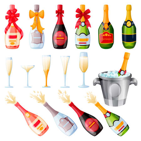 Explosion champagne bottles with bow ribbons and drinking glasses set. Vector flat cartoon illustration. Holiday alcohol set, isolated on white background Stock Illustratie