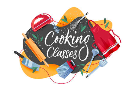Cooking class banner, frame, label or poster design template. Hand drawn calligraphy lettering and kitchen tools on blackboard. Vector flat cartoon illustration