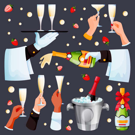 Human black and white hands holding drinking glasses and champagne bottle. Vector flat cartoon illustration of waiter pours and carries champagne. Men and women cheers, holiday alcohol set