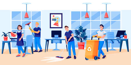 Cleaning service staff team in uniform cleans office.  flat cartoon character illustration. Men and women professional housekeeper workers wash windows, wipe dust and cleaning garbage Stock Illustratie