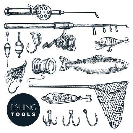 Fishing equipment isolated on white background. Vector hand drawn sketch illustration. Rod, bait, hook, salmon fish, tackle icon set