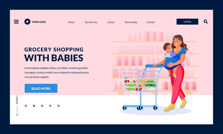 Young happy mother with baby in sling carrier make shopping at grocery store. Vector flat cartoon characters illustration. Smiling woman carrying kid and supermarket cart Stock Illustratie