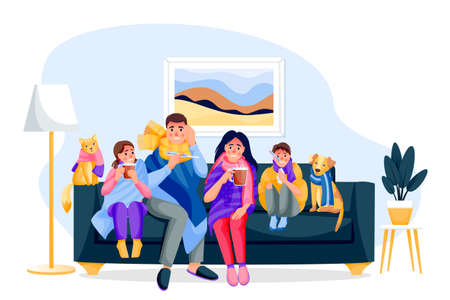 Flu sick family with pets sitting on sofa in room. Father, mother, children, cat and dog has seasonal cold respiratory infection disease. Vector flat cartoon characters illustration