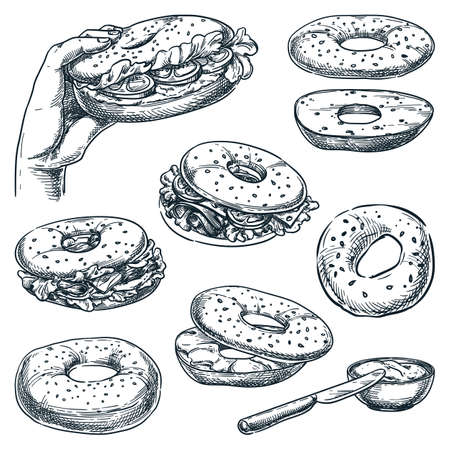 Bagel bread and sandwiches set, isolated on white background. Fast food snacks vector sketch illustration. Bun with salmon, cheese, ham and tomato. Cafe lunch menu hand drawn vintage design elements Stock Illustratie