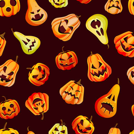 Halloween spooky emotion pumpkins seamless pattern. Vector flat cartoon illustration. Jack o lanterns face expression on black background. Holidays decoration design Stock Illustratie