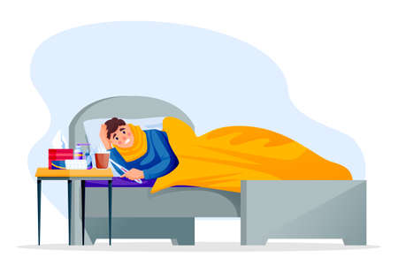 Flu sick young man lying in bed under blanket. Boy have autumn or winter seasonal cold respiratory infection disease. Vector flat cartoon characters illustration Stock Illustratie