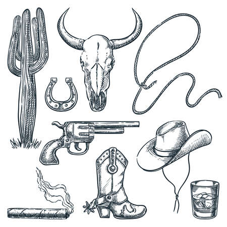 Wild West vintage symbols isolated on white background. Vector hand drawn sketch illustration. Cowboy hat and spur boots, cow skull and gun retro icons set Stock Illustratie