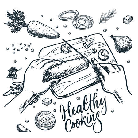 Healthy cooking, meal preparation process vector sketch illustration. Human hands cut carrots with knife on cutting board. Hand drawn calligraphy lettering and sliced vegetables