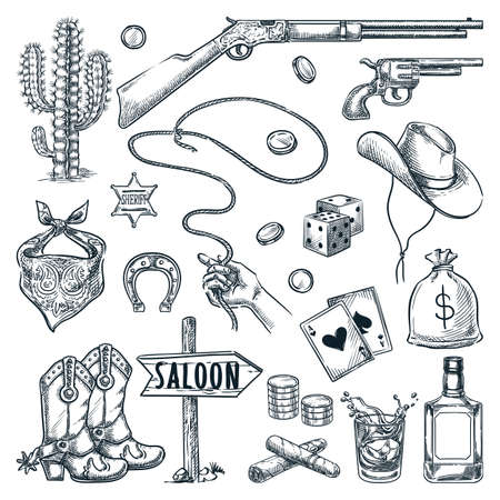Wild West and Texas vintage icons set. Vector hand drawn sketch illustration. Sheriff star, cowboy hat, gun, whiskey and hand with lasso, isolated on white background