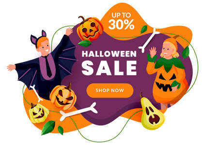 Halloween poster, discount sale banner design template. Cute happy kids in costumes of pumpkin and bat celebrate holidays. Vector flat cartoon characters illustration