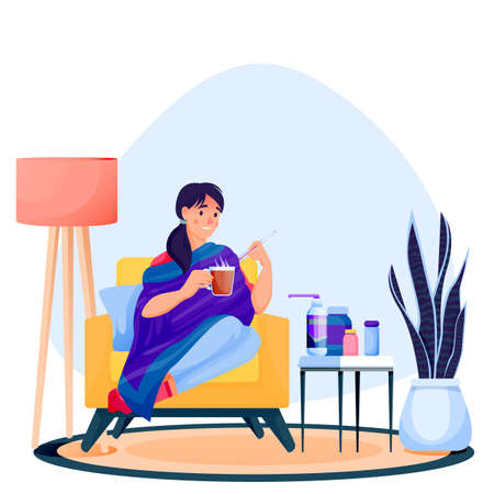 Flu sick woman sitting on arm-achair under plaid, drinks hot tea and measures temperature. Girl have autumn or winter seasonal cold respiratory infection disease. Vector flat cartoon illustration