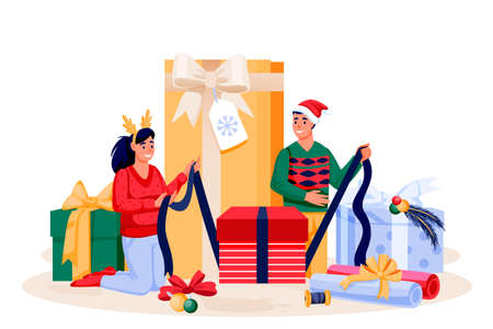 Young couple in holiday costumes packing Christmas gifts. Happy family preparing to New Year celebration. Vector flat cartoon characters illustration.
