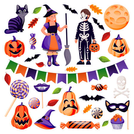 Halloween decoration and design elements set. Vector flat cartoon illustration. Pumpkin, candy, black cat, bat, skull icons. Kids in funny costumes of witch and skeleton isolated on white background