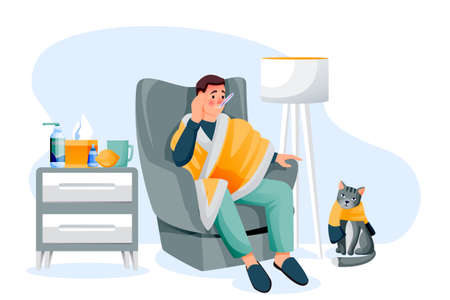 Flu sick man sitting on armchair under plaid and measures temperature. Young guy and cat have autumn or winter seasonal cold respiratory infection disease. Vector flat cartoon illustration Stock Illustratie
