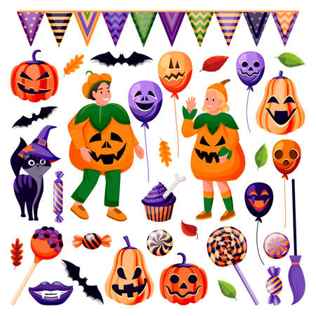 Halloween decoration design elements collection. Holiday balloons with grinning face, candy, black cat, bat icons. Kids in funny costumes of pumpkins isolated on white background. Vector illustration.