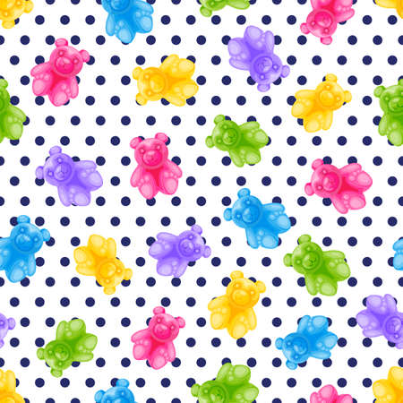 Jelly bear candy and polka dot vector seamless pattern. Sweet colorful kids background. Vector cartoon illustration. Multicolor fabric design, birthday wrapping paper, trendy fashion textile print Illustration
