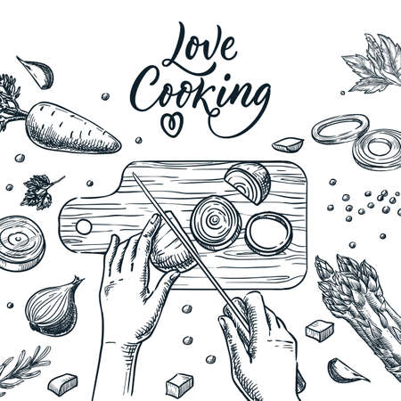Healthy cooking, meal preparation process vector sketch illustration. Human hands cut onion with knife on cutting board. Hand drawn love cooking calligraphy lettering and sliced vegetables Stock Illustratie
