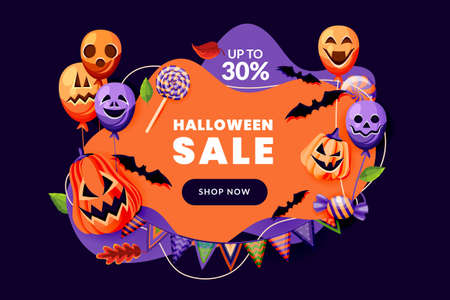 Halloween party invitation with horror decoration. Poster or discount sale banner design template. Holiday balloons with grinning faces, pumpkin lanterns, bats and flag garland. Vector illustration