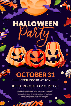 Halloween holiday poster banner template. Party flyer invitation layout. Vector illustration. Blac background with horror decoration, pumpkin lanterns with grinning faces, candies and bats
