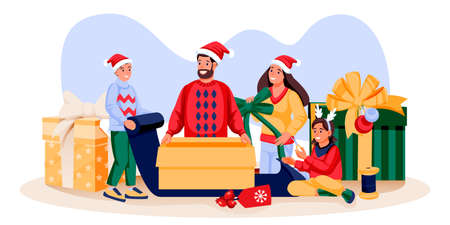Happy family in holiday costumes packing Christmas gifts. Father, mother, son, daughter preparing for New Year celebration. Vector flat cartoon illustration. Family lifestyle and fun time at home Stock Illustratie
