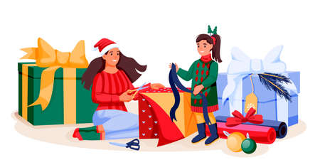 Happy mother and daughter in holiday costumes packing Christmas gifts. Mom and little girl preparing to New Year celebration. Vector flat cartoon characters illustration