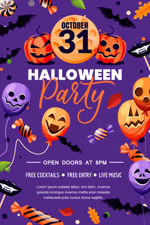 Halloween holiday poster banner template. Party flyer invitation layout. Vector illustration. Purple background with horror decoration, balloons with grinning faces, pumpkin lanterns and bats