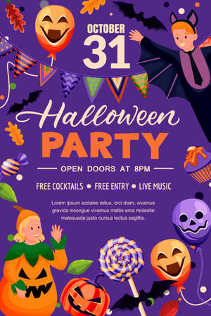Halloween holiday frame, poster banner template. Party flyer invitation layout. Vector illustration. Purple background with with kids in pumpkin and vampire costumes, lanterns, balloons, and candies Stock Illustratie