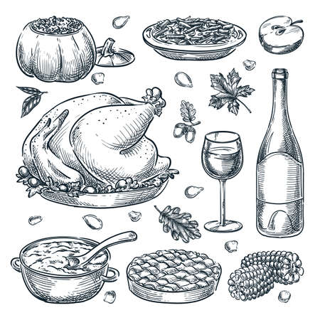 Thanksgiving holiday menu design elements, isolated on white background. Vector hand drawn sketch illustration. Traditional holiday home made meal. Roasted turkey, pie, green beans and stuffed pumpkin