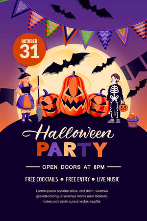 Halloween holiday poster banner template. Party flyer invitation layout. Vector illustration. Night background with kids in witch and skeleton costumes, pumpkin lanterns, full moon and bats
