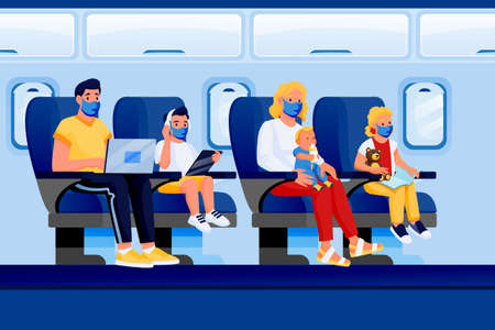 Family with kids in medical protection masks travel by airplane. Vector flat cartoon characters illustration. Air travel new rules, healthy and safe flight concept. Plane interior with passengers Stock Illustratie