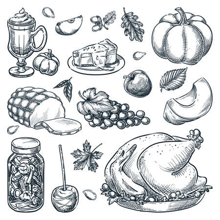 Thanksgiving menu design elements on white background. Traditional holiday home made meal. Roasted turkey, pickled vegetables, caramel apple, pumpkin, ham. Vector hand drawn sketch illustration Stock Illustratie