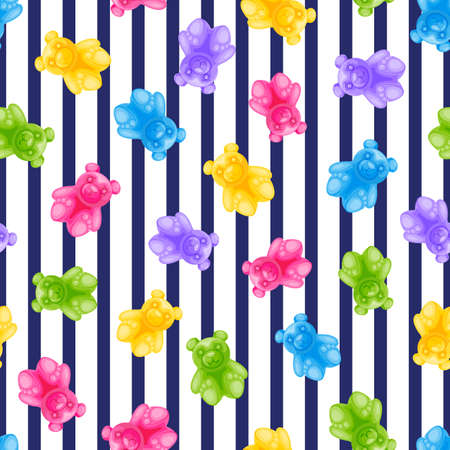 Jelly bear candy and navy stripes  seamless pattern.