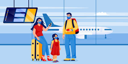 Family with child in medical protection masks in airport terminal. Ilustración de vector
